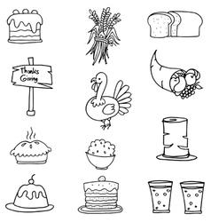 Doodle of element thanksgiving set vector