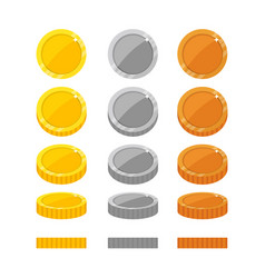 Flat cartoon coins rotation frames vector