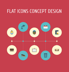 flat icons whiteboard desk light puncher and vector image