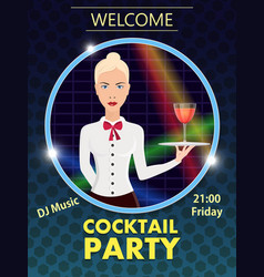 flyer design template cocktail party vector image