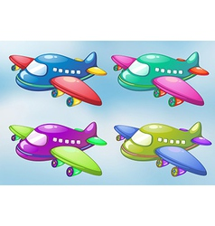 Four toy planes in the sky vector image vector image