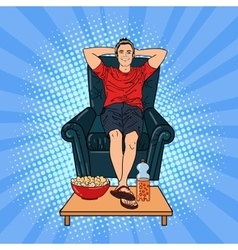 Happy man watching tv on the chair vector