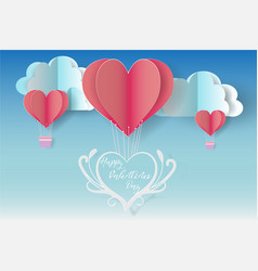 Happy valentines day with balloon heart blue vector