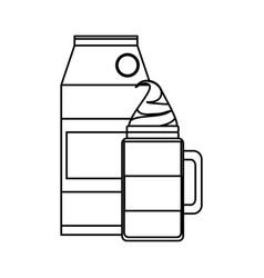 Iced coffee and milk carton vector