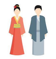 Japan traditional costume kimono vector