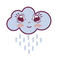 Kawaii happy cloud raining with big eyes and vector