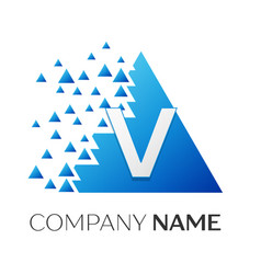 letter v logo symbol on colorful triangle vector image vector image