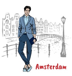 Man with tablet in amsterdam vector