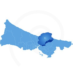 Map of istanbul with each administrative district vector