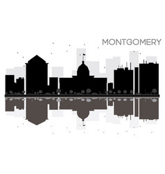 Montgomery city skyline black and white vector