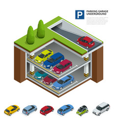 Parking garage underground indoor car park urban vector