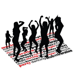 party with word and girl vector image