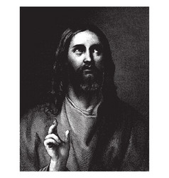 Portrait of jesus christ is an engraving by vector