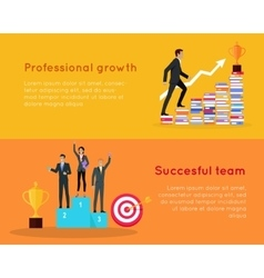 Professional growth and successful team banners vector