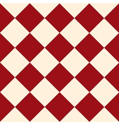 Red cream chess board diamond background vector