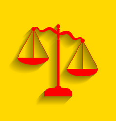 scales of justice sign red icon with soft vector image vector image