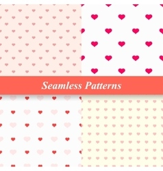 Seamless simple patterns with hearts vector image vector image