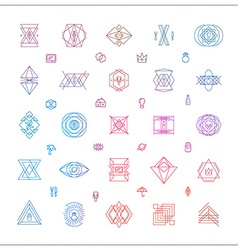Set of Abstract Geometric Hipster Line Art vector image