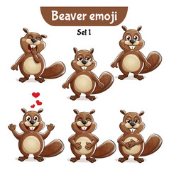 Set of cute beaver characters set 1 vector