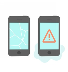 Two broken phones vector
