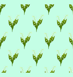 White lily of the valley seamless on green mint vector