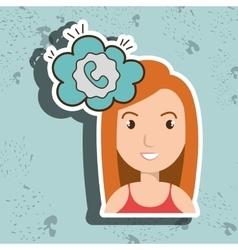 Woman communication speak bubble vector