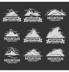 Set of mountain exploration vintage logos emblems vector