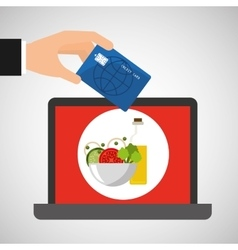 Shopping online concept order sauce salad vector