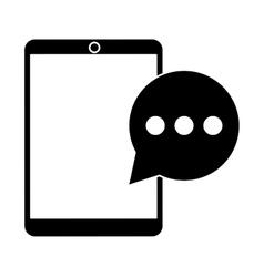 Mobile device bubble speech dialog pictogram vector