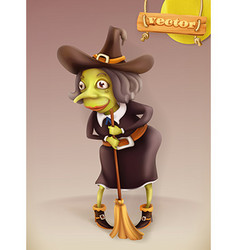 Witch cartoon character halloween 3d icon vector