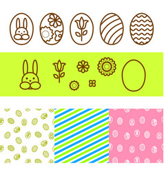 easter outline egg icons vector image