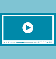 Cyan video player template for web and mobile vector