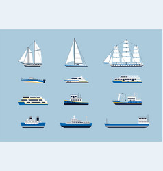 Water transport - modern flat design icons vector