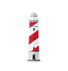 Sea beacon flat sign searchlight tower vector