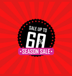 Season sale banner sale up to 60 percent off vector