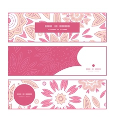 Pink abstract flowers horizontal banners set vector