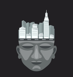 Flat design of city on a mans head vector