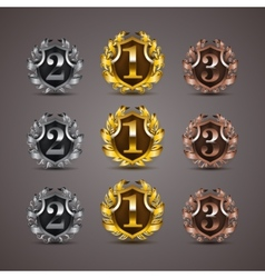 Set of luxury golden shields vector image
