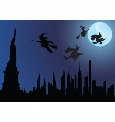 witch and city vector image