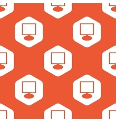 Orange hexagon monitor pattern vector