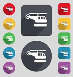 Helicopter icon sign a set of 12 colored buttons vector