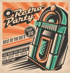 Retro party invitation design template vector image