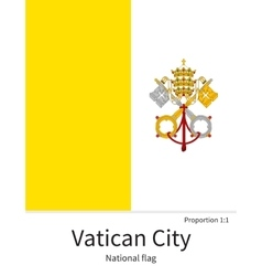 National flag of vatican city with correct vector
