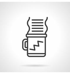Coffee for work black line design icon vector
