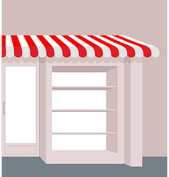 Storefront with striped roof red and white stripes vector