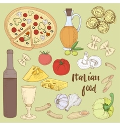 Italian food set vector