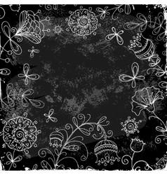 Flower doodle on a background of black plank vector