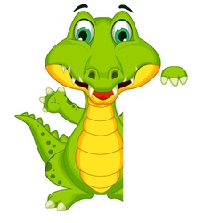 funny crocodile cartoon posing with blank sign vector image