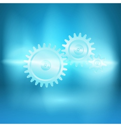 Abstract blue background with gear transmission vector