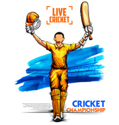 batsman playing cricket championship sports vector image vector image